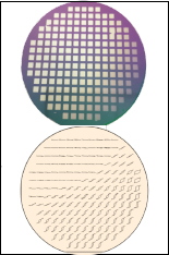 A combinatorial wafer (top) and a mapping diagram (bottom) representing different magnetic properties of materials