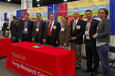 UMD faculty at the 2016 ARPA-E Summit. From left to right: Dr. Takeuchi, Dr. Ohadi, Dr. Wachsman, Dr. YuHuang Wang, Dr. Radermacher, Dr. Lei Zhang, and Dr. Srebric. Not pictured: Dr. Chunsheng Wang and Dr. Bao Yang.