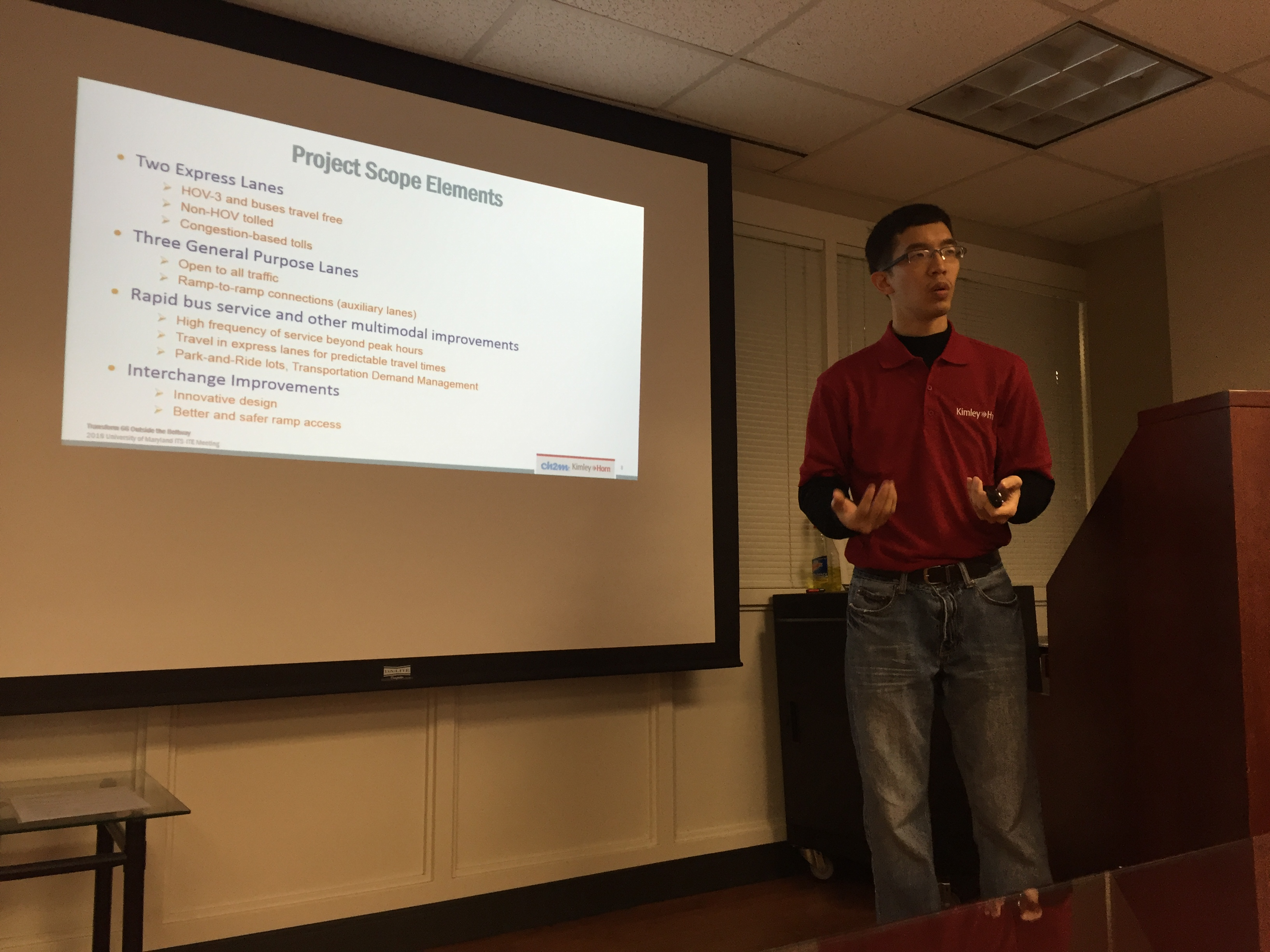 Kimley Horn Engineers speaking at UMD-ITS Seminar
