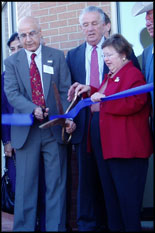Cutting the ribbon are, from left, CECD Director Dr. Davinder K. Anand; Sen. Paul S. Sarbanes; & Sen. Barbara A. Mikulski.